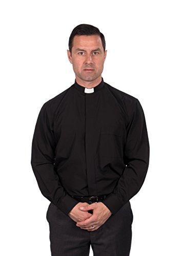Reliant Men's Clergy Shirt - Tab Collar Long Sleeve (15.5, Black)