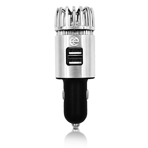 Powerful Car Air Purifier w/two 2.1 Amp USB Ports, Best Automobile Deodorizer, Freshener, Durable Ionizer - Removes Cigarette Smoke, Dust, Pollen, food odors & Pet smell