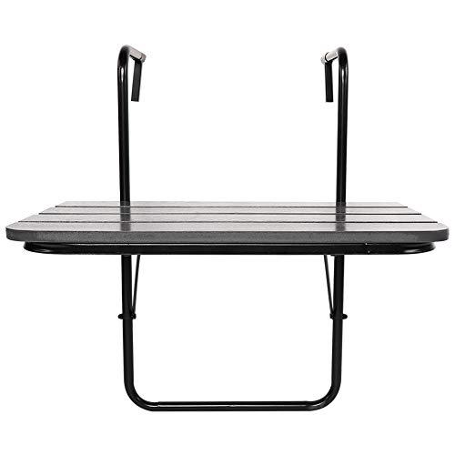 Mesa colgante de balcón negra, mesa de barandilla para exterior, balcón, plegable, ahorra espacio, estructura de metal y tablero de polirratán, 62 x 42 x 9 cm