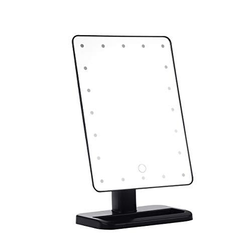 HUIHH Miroir de courtoisie éclairé rectangulaire à écran Tactile Miroirs de Maquillage alimentés par Batterie Lady Portable Miroir de Table Compact 11 x 17 x 30CM B