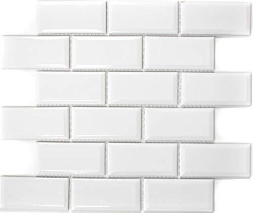 Keramische mozaïek Metro Subway mozaïek tegels mozaïektegels keramiek tegel wit wandtegel badkuipbekleding douchewand WC badtegel tegel | 10 mozaïekmatten