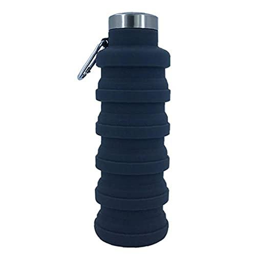 MICHAELA BLAKE Botella de Agua Plegable Plegable Botella de Viaje de Silicona 500 ml con Carabiner Portable Fugas a Prueba de Fugas para Deportes Camping Gray