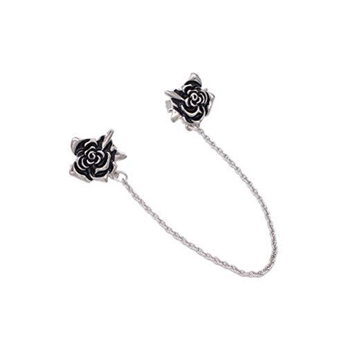 BESTOYARD Breastpin Clip Dripping Oil Rose Patrón de flor Camisa con cuello Clip Cardigan Clip (Plata)