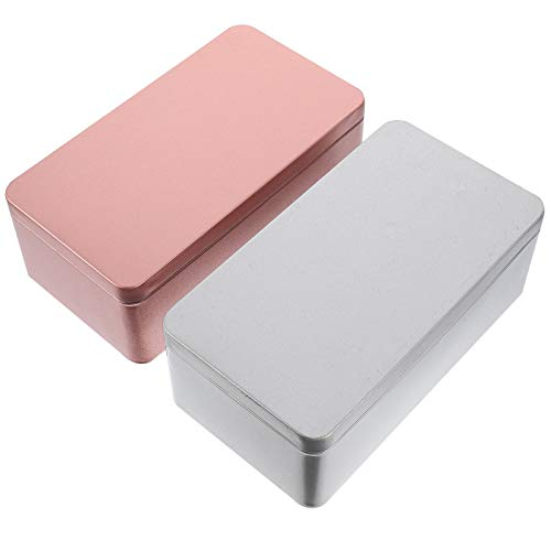 YARNOW 2 cajas de té o galletas, cuadradas, caja de regalo, caja de metal, caja de almacenamiento, caja de almacenamiento de té, caja de especias