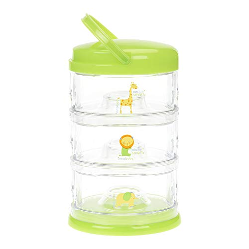 Innobaby Packin' Smart Stackable and Portable Storage System for Formula, Baby Snacks and More. 3 Stackable Cups in Lime Sorbet. BPA Free.