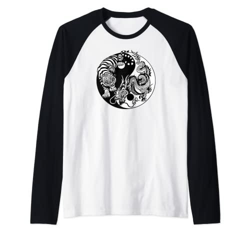 Yin Yang Drago Tigre Maglia con Maniche Raglan