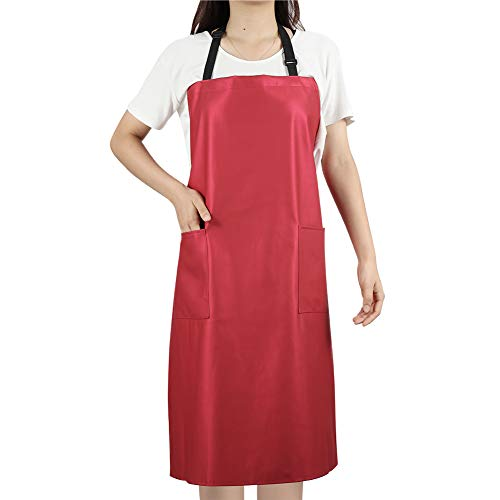 Waterproof Rubber Vinyl Apron for Women - Chemical Resistant Work Cloth with 2 Pockets - Adjustable Bib Butcher Apron - Best for DishWashing, Lab Work, Dog Grooming, Cleaning Fish (Red)