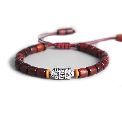 EXINOX Tibetaanse armband van hout met parels voor mannen en vrouwen, verstelbaar, spiritueel boeddhistische mantra metaal