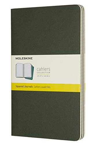 Moleskine Myrtle Green Large Squared Cahier Journal (Set of 3)