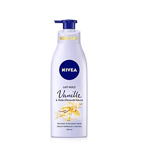 NIVEA Lait-Huile Vanille & Huile d'Amande Douce (1 x 200 ml), Soin plaisir pour peaux normales à sèches, Lait corporel hydratation intense 24H