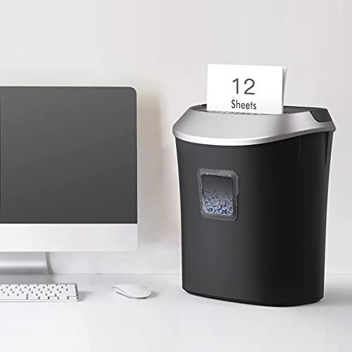 Aktenvernichter, für Papier CD/DVD Kreditkarten bis zu 12 Blätter mit CD-Shredder Papierkorb Powershred Partikelschnitt Aktenvernichter 22 L Geeignet für Home & Small Office