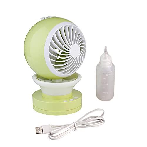 #N/D Moda portátil mini ventilador USB carga linda forma LED luz nebulización spray humidificador ventilador refrigeración aire refrigerador para escritorio oficina