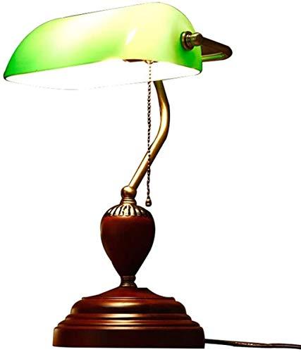 LTOOTA Wishes Shop Lampada Tavolo - Lampada scrivania Tradizionale Antica Banker American Vintage con portalampada Legno e Lampada Comodino con Paralume Vetro Verde, Luce Notturna a Bocca E27