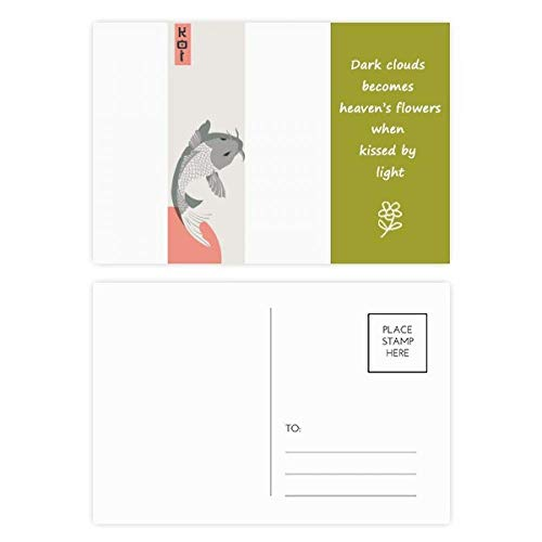 Juego de 20 postales japonesas tradicionales de poesía, diseño de peces