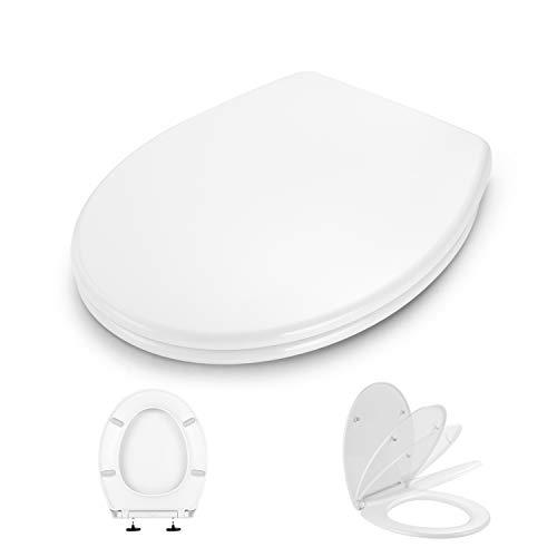 WC Sitz, Dalmo DBTS07TY O-Form Toilettensitz, mit Soft Close Absenkung und Quick Release-Funktion, Toilettendeckel aus Antibakterielle PP-Material und Rostfreie Edelstahl, Einfache Montage, weiß