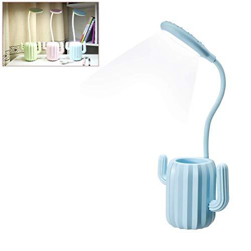 Arisesun Lámpara LED de escritorio Cactus Mesita de noche con soporte para bolígrafo y cuello de ganso para el cuidado de los ojos, lámpara de escritorio LED para dormitorio, sala de estar o estudio