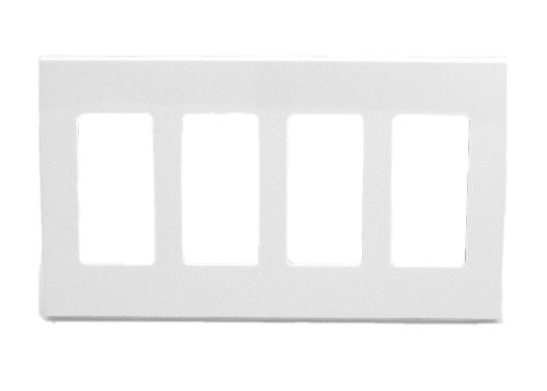 Leviton 4-Gang Decora Plus Wallplate Screwless Snap-On Mount, White 80312-SW
