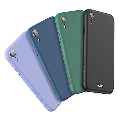 "Amazon Brand – Eono Funda para iPhone XR [Paquete de 4], Carcasa Protectora Anti-Choques Suave Flexible TPU, Case Ultrafina y Anti- Arañazos, Cubierta para Apple iPhone XR 6,1"" - Mate"