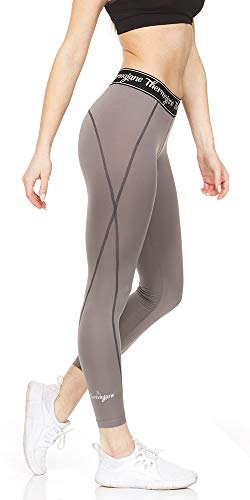 Thermajane Women Compression Pants - Athletic Tights- Leggings for Yoga, Running, Workout and Sports (X-Large, Steel Grey)