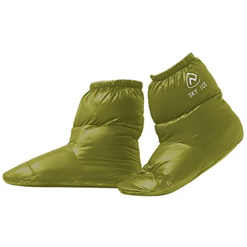 perfeclan 1 par de zapatillas de plumón de pato blanco 90% para tienda de campaña botines unisex para hombres y mujeres Calcetines de calzado botas de pie - Verde L