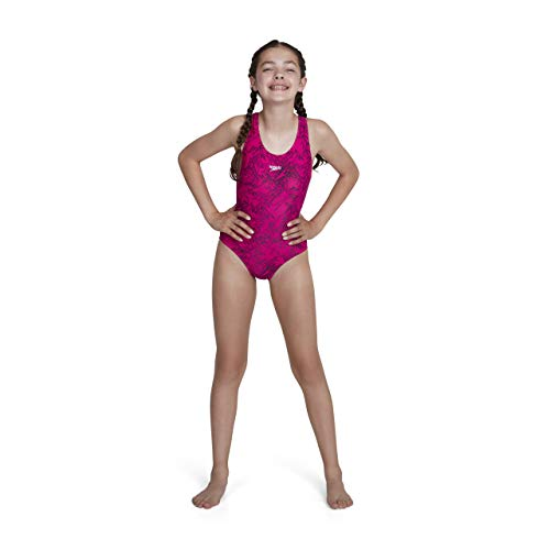 Speedo Girls Boom Allover, Bañador para niña, Multicolor (Electric Pink/Black), 116 cm...
