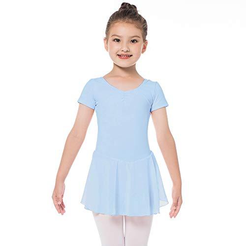 Kinder Ballettkleidung Mädchen Ballettkleid Kurzarm Balletttrikot Ballettanzug Tanzkleid Tanzbody aus Baumwolle mit Chiffon Rock Tütü (130 (120-130cm, 8-9 Jahre), Blau)