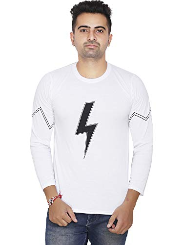ZETE-363 White Flash Charge Printed T Shirt for Men (M-40)