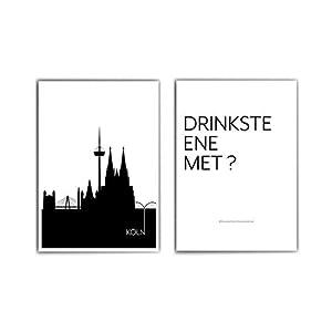 2er Köln Poster Set – Köln Skyline & Drinkste ene met ? – Cologne – Typographie Poster – Wohnzimmer Bilder Set Köln…