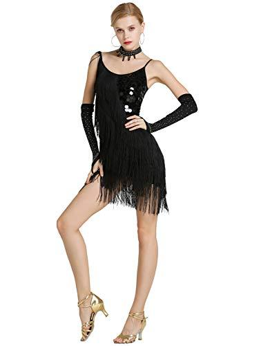 Kaiyei Hembra Latina Baile Traje de Malla Lentejuelas Borla Latina Ropa Vestido para Las Mujeres de América Latina Salsa Ballroomdance Vestidos Negro M
