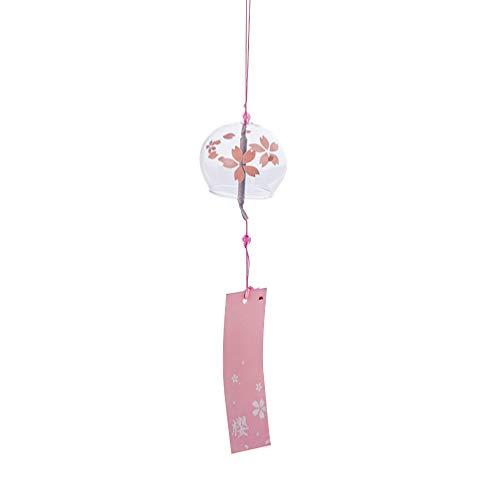 VOSAREA Japanische Windspiel Glas Windspiel Wind Chimes Hängende für Balkon Garten DIY Dekoration (Sakura)