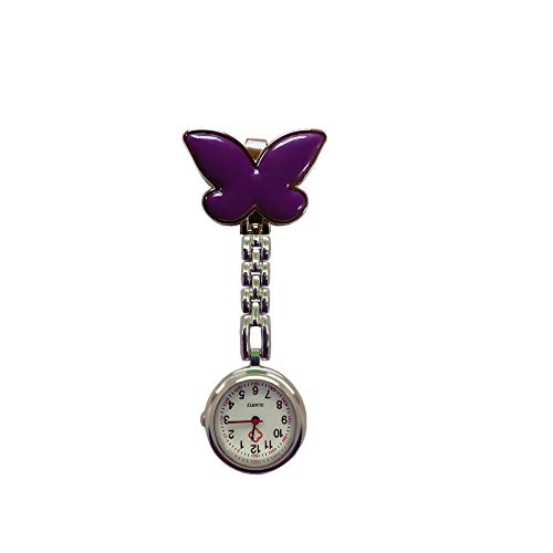 YYMY Reloj de Bolsillo con Broche,Bonito Cofre de Enfermera con Mariposa, Reloj de Bolsillo médico con Clip de Cuarzo, Morado