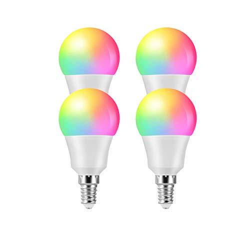 XIAOYONG E14 Smart Glühbirne, Arbeiten mit Alexa/Google Home/Tmall Elf/Xiaodu, WLAN/Sprach- / App-Steuerung 6W 2700K-6500K LED-Lampen Dimmbare RGB-Lampe Kein Hub erforderlich