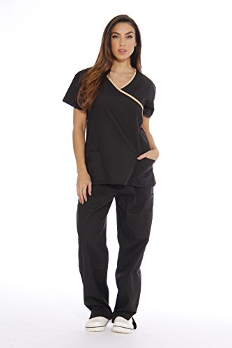 11141W Just Love Women's Scrub Sets / Medical Scrubs / Nursing Scrubs - XS, Black with Sand Trim,Black With Sand Trim,X-Small