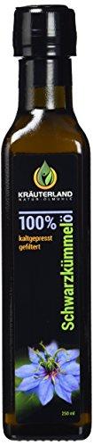 Schwarzkümmelöl • 250ml • gefiltert • kaltgepresst • ägyptisch • 100% naturrein • Frischegarantie: täglich mühlenfrisch direkt vom Hersteller Kräuterland-Ölmühle • mild