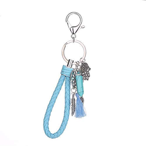 Llavero de moda para mujer, diseño de atrapasueños, color azul