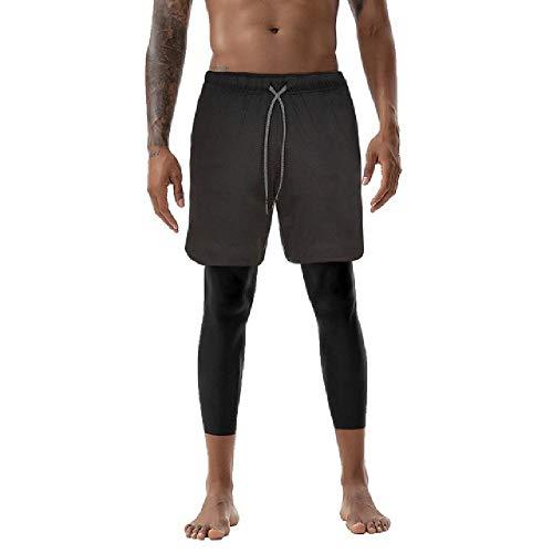 OKJI Heren 2 in 1 Shorts Broek Pants Yoga Broek Ademende Hardlopen Leggings Mannelijke Gym Sport Joggers Broek Oefening Broek