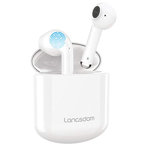 Wireless Earbuds, Langsdom Bluetooth 5.0 Earbuds with Mic Ture Wireless Earbuds TWS Fast Charging for iPhone Android, Hi-Fi Stereo 30H Playtime Bluetooth Headphones with Charging Case for Sport Work