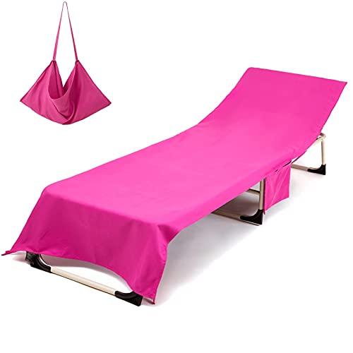 KiKiYe, copertura per sedia da piscina, tinta unita, con tasche laterali, per sdraio, piscina, prendisole, giardino, spiaggia, hotel, bianco