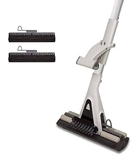 JEHONN Sponge Mop For Floor Cleaning, Long Handle Floor Mop With Scrubber Super Absorbent Heavy Duty Roller Mop For Kitchen Hardwood Floor With 2 Sponge Heads