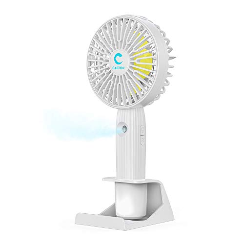 Dstper 携帯扇風機 USB扇風機 加湿器機能付き 強力 超静音 PSE認証済 LEDランプ ミニファン 小型噴霧扇風機 手持ち 卓上 5枚羽根 3段階風量調節 充電式扇風機 熱中症 暑さ対策 家庭 オフィス アウトドア用 (白)