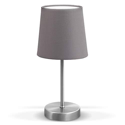 LED Tischleuchte | Stofflampe grau, matt-nickel | E14 | Tischlampe I Nachttischlampe mit Schalter | IP20