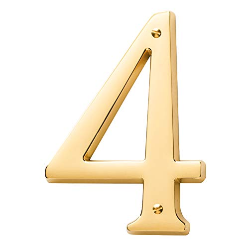 Baldwin Estate 90674.003.CD Solid Brass Traditional House Number Four in Polished Brass, 4.75