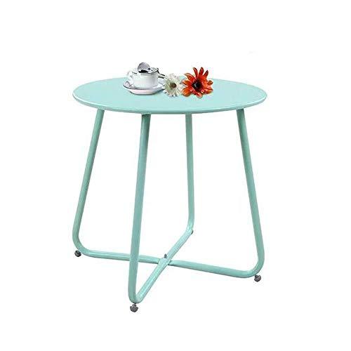 XYFL Steel Patio koffietafel, kleine ronde eindtafel weerbestendig, buiten bijzettafel, Zwart Blauw