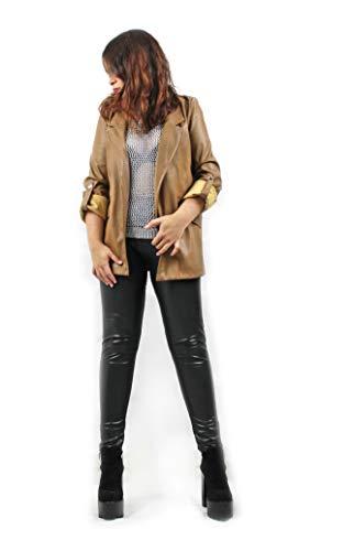 Modelisa - Chaqueta Cazadora Polipiel para Mujer (Camel, S)