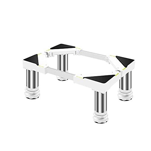 Base de Aire Acondicionado Vertical Soporte de Nevera Ajustable Longitud: 45-60 cm Pedestal para Lavadora y Secadora 4 pies Fuertes Antivibración para lavavajillas Máquinas Pesadas (Blanco) Base