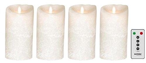 Sompex Lot de 4 Bougies Blanc 18 cm Frost Flame LED en Cire avec télécommande, 35741, Couronne de l'Avent Kit