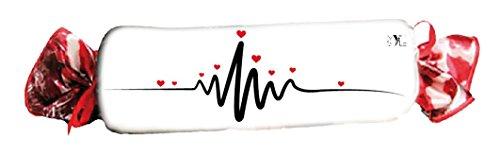My Custom Style® Coussin en Microfibre velours en forme de bonbon modèle san valentino – battito- de 80 x 40 cm, produit totalement artisanale faite à la main en Italie et imprimé avec technique sublimatica à haute résolution. cuscino singolo