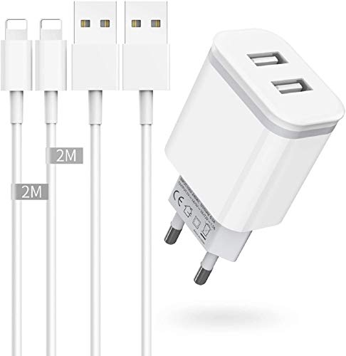 Niluoya Caricatore, 3-Pack 2.1A 5V Caricabatterie + 2M Cavetto Cavo Filo Ricarica Carica Batteria Presa USB Muro Spina Replacement for iPhone XR XS XS Max X 8 7 Plus 6 6S Plus 5S 5 SE 11 10 SE2 Pad