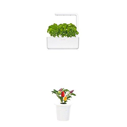 Click & Grow Smart Garden 3 jardinière d'intérieur 30 x 10 x 28 cm Blanc (contient 3 capsules de basilic) + 2 recharges rose (x3)