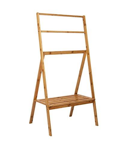 Mind Reader Freestanding Bamboo Shelf, Folding, Bathroom Towel Bar, Pool Drying Rack, Quilt Stand, Multi-Level, 2-Tier, Brown